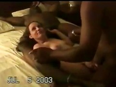 White gangbang slut moans as big black cocks fuck her deep in hot video
