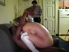 White wife in white leather boots cuckolds husband with a black lover