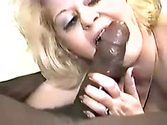 Real mature bitch blowing big black cock for cuckold porn