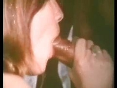Great retro wife porn with hairy slut rubbing twat and sucking black cock